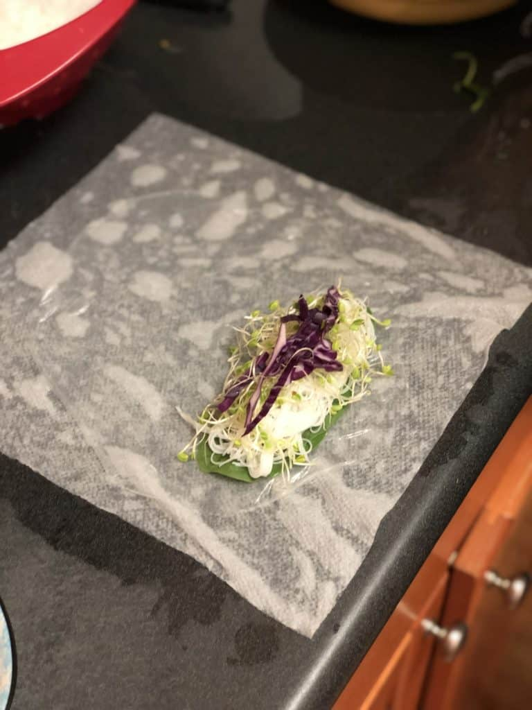 red cabbage placed on shrimp roll