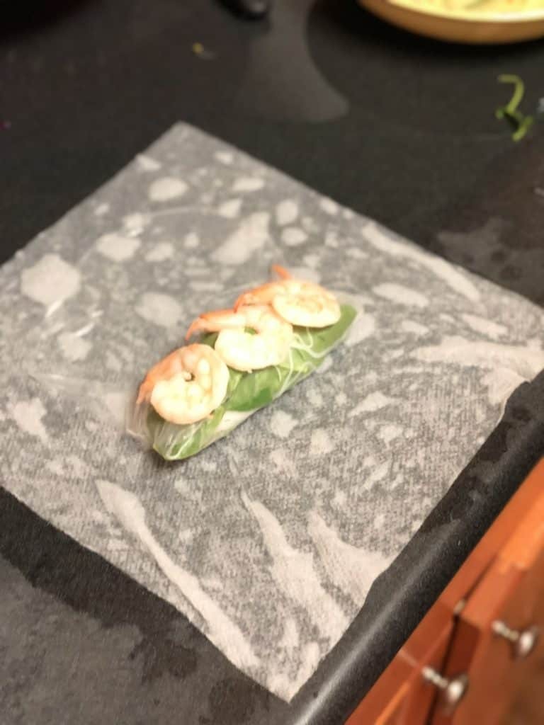 shrimp place on rice paper