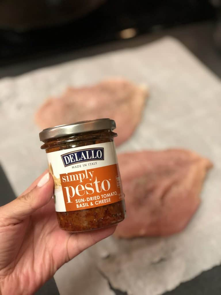 a jar of Delallo's sun dried tomato pesto for my stuffed chicken