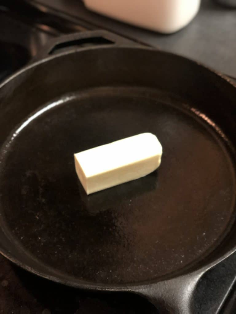 butter in cast iron pan
