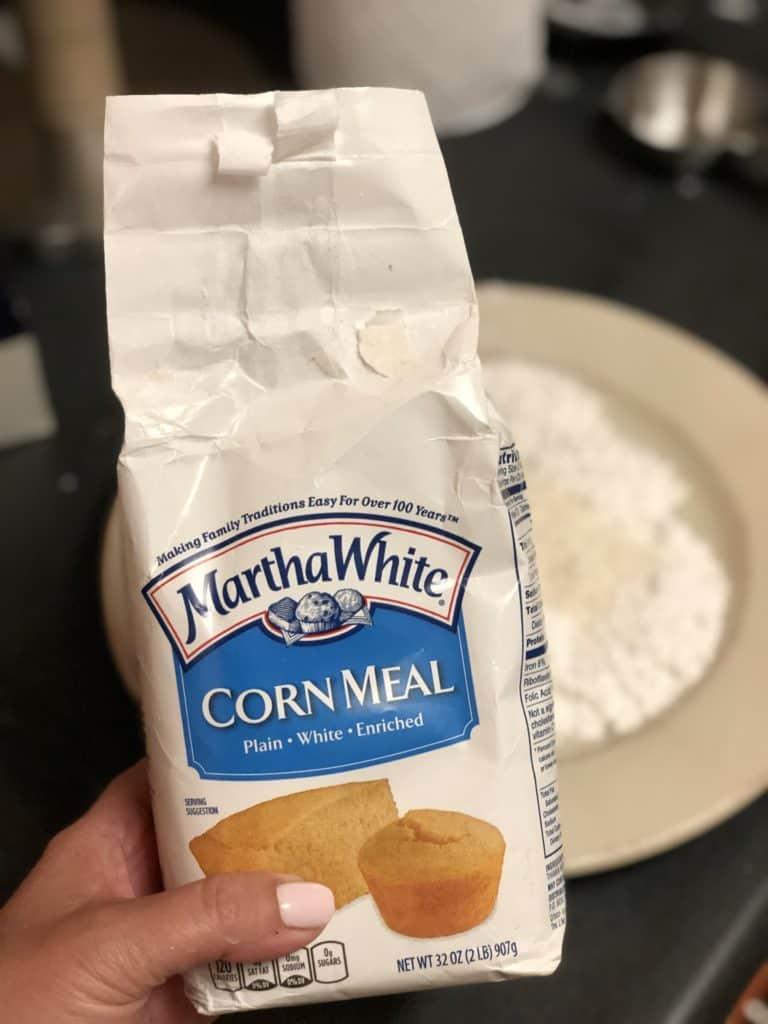 a bag of Martha White Cornmeal for Cajun Soft Shell Crabs