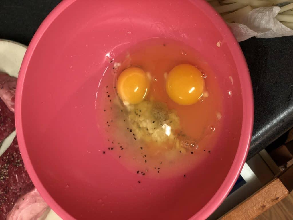 Lemon Aioli ingredients: Egg yolks, garlic paste, salt, pepper, lemon juice, dijon mustard