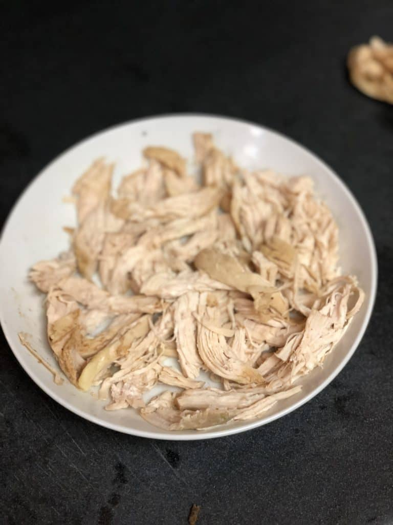 Pulled poached chicken for chicken tacos