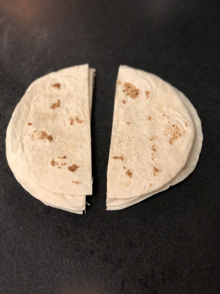soft tortillas cut in half