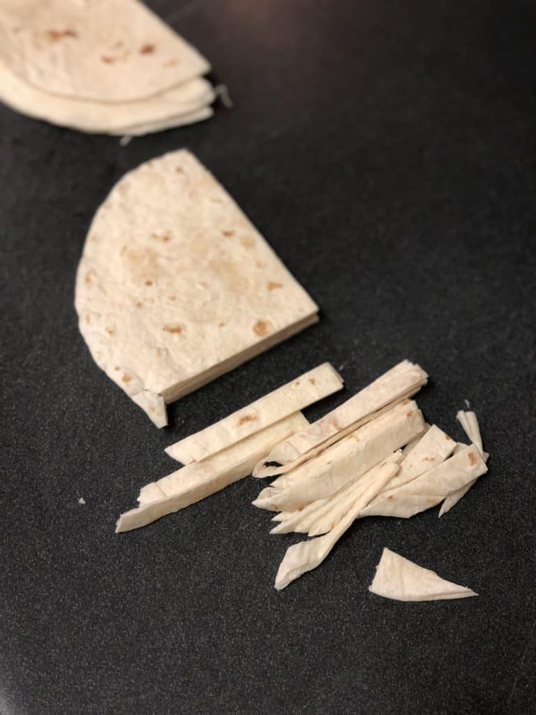 soft tortillas cut into strips