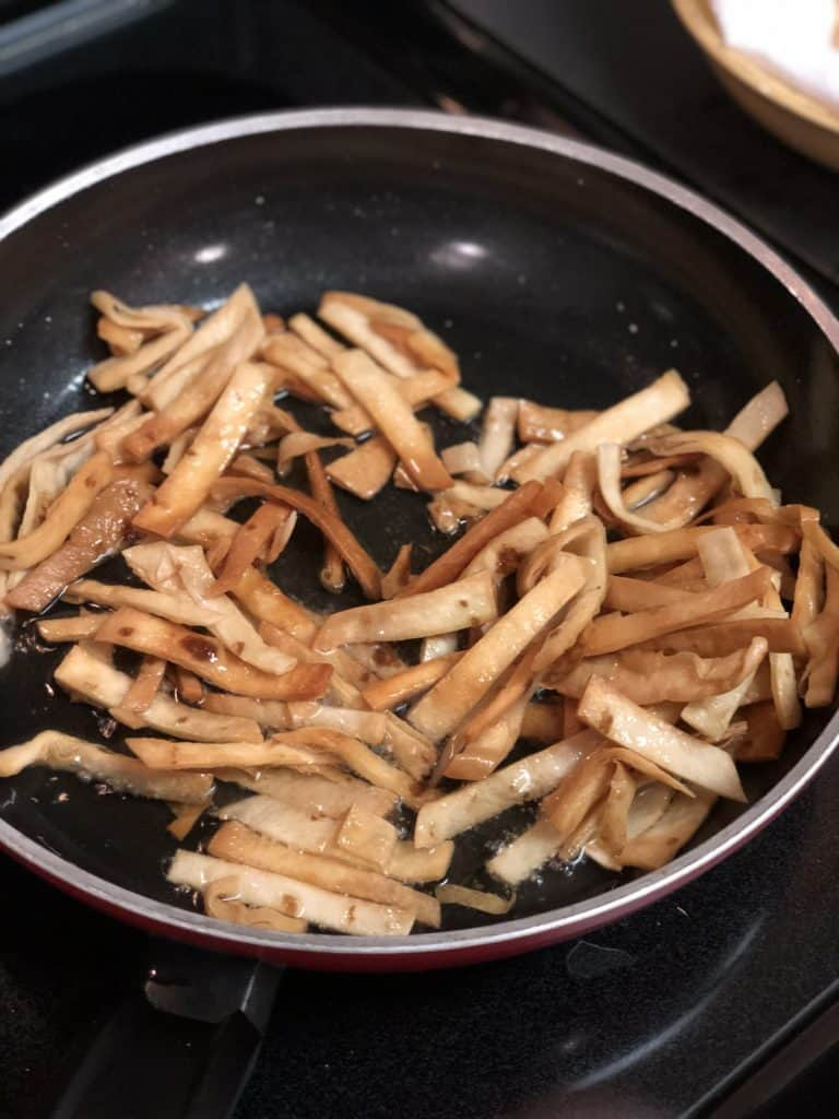 soft tortilla strips browned