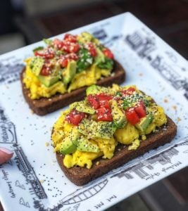 Avocado Toast with eggs and tomatoes