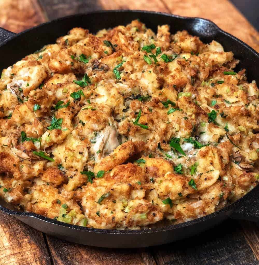 oyster dressing baked in a cast iron pan