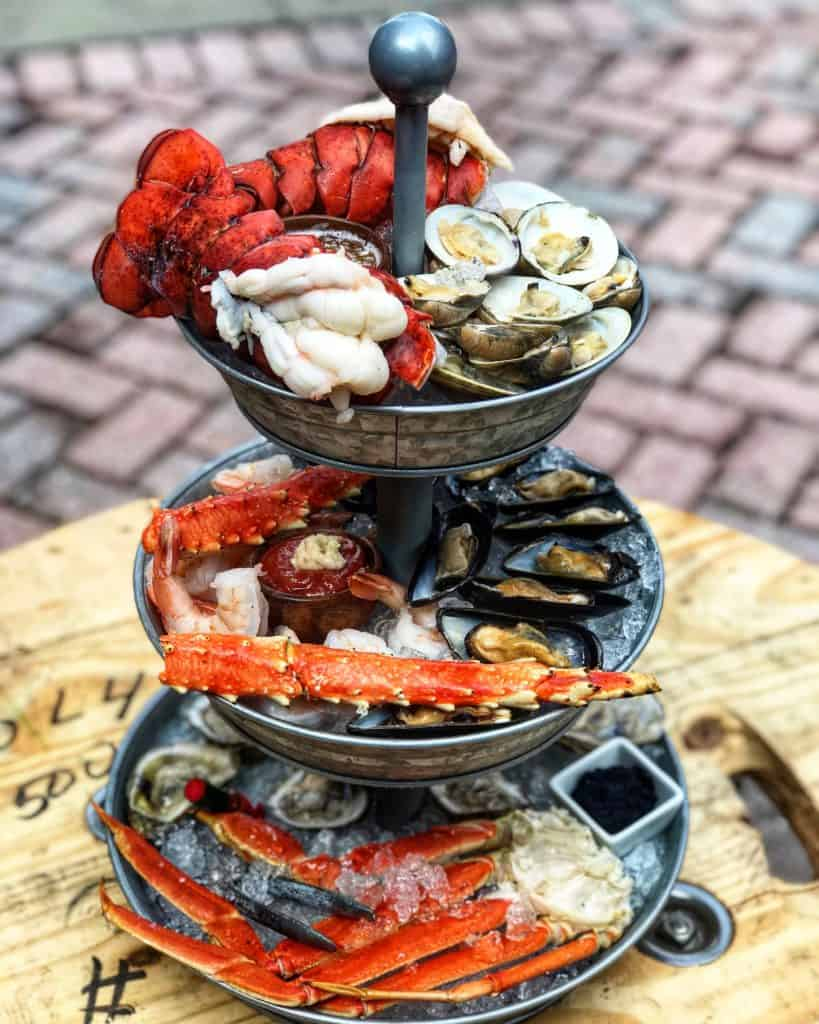 seafood tower for my feast of the seven fishes menu