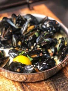 Steamed Mussels in a Sambuca cream Sauce