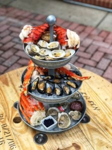 Chilled Seafood Tower with Lobster tails, shrimp, crab, clams, mussels and oysters