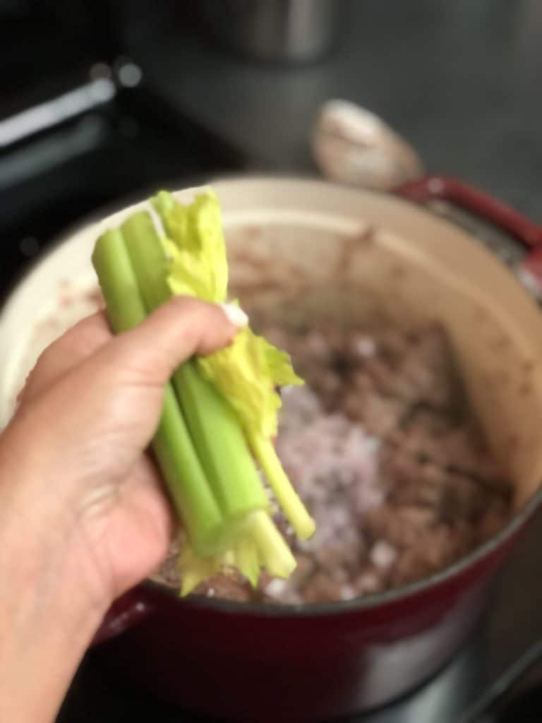 four stalks of celery