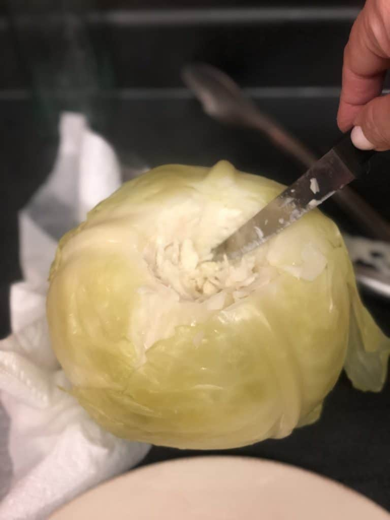 cutting core of cabbage