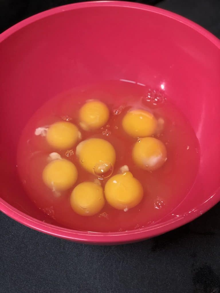 8 eggs in a bowl