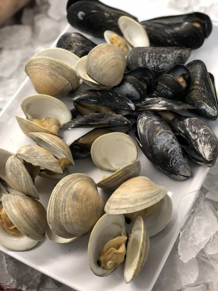 a plate of steamed mussels and clams
