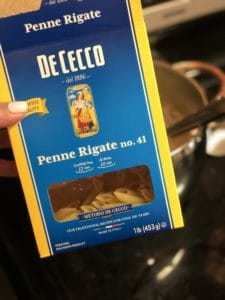 a box of DeCecco penne Rigate