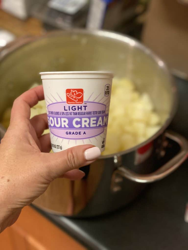 a container of sour cream