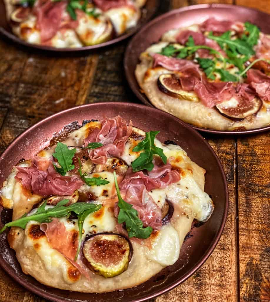 three mini Prosciutto and Fig pizzas
