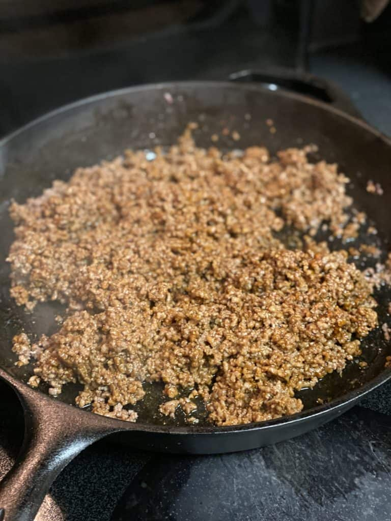 spices mixed with ground beef