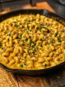 Homemade Cheeseburger Hamburger Helper in a cast iron pan