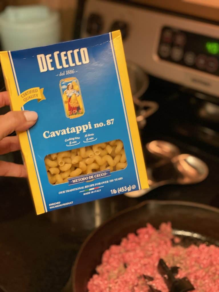 a box of DeCecco Cavatappi pasta