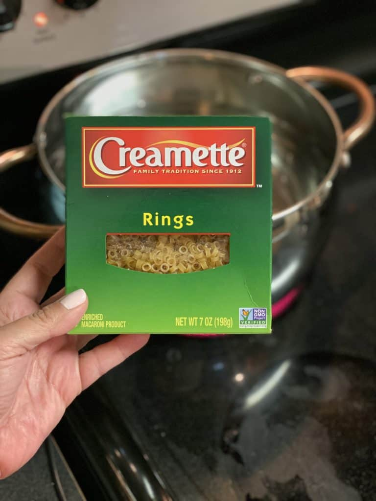 a box of Creamette pasta rings