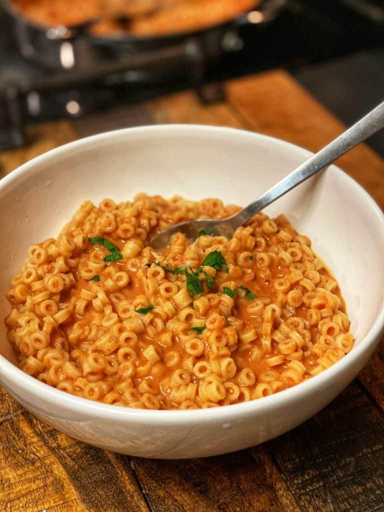 a bowl of homemade spaghetti o's