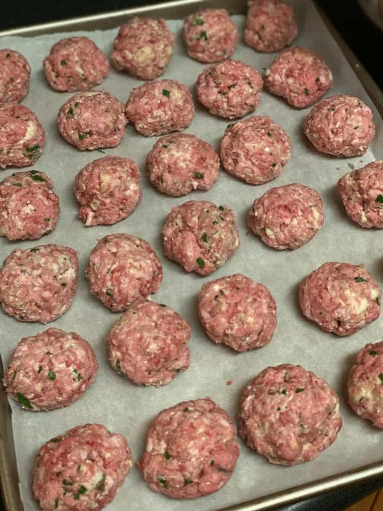 meatballs on pan