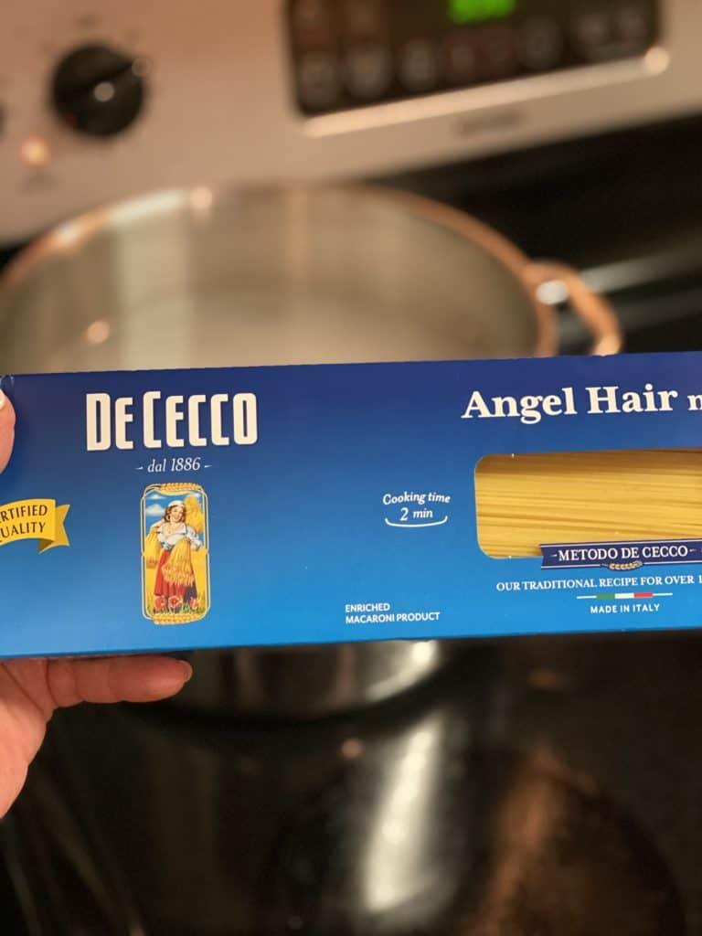 a box of DeCecco angel hair pasta
