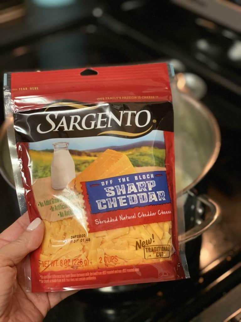 a bag of Sargento shredded cheddar cheese