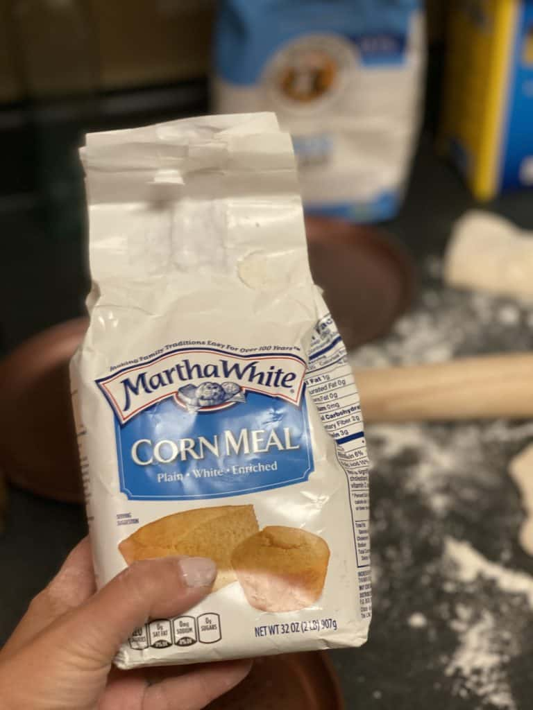 a bag of Martha White cornmeal