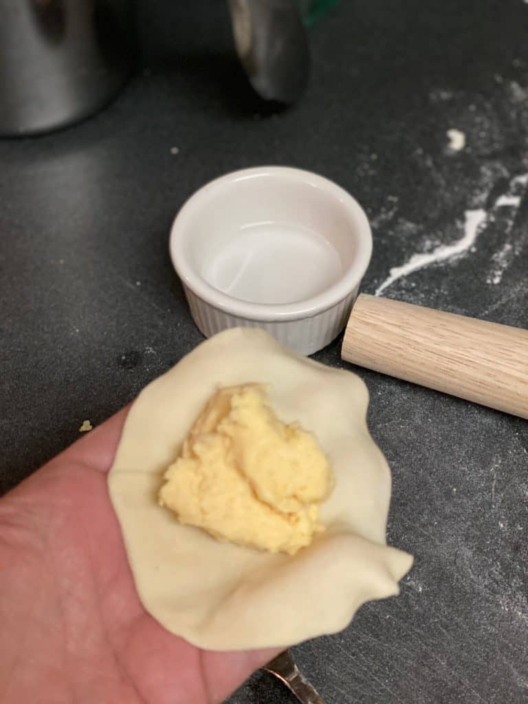 sealing dough with water
