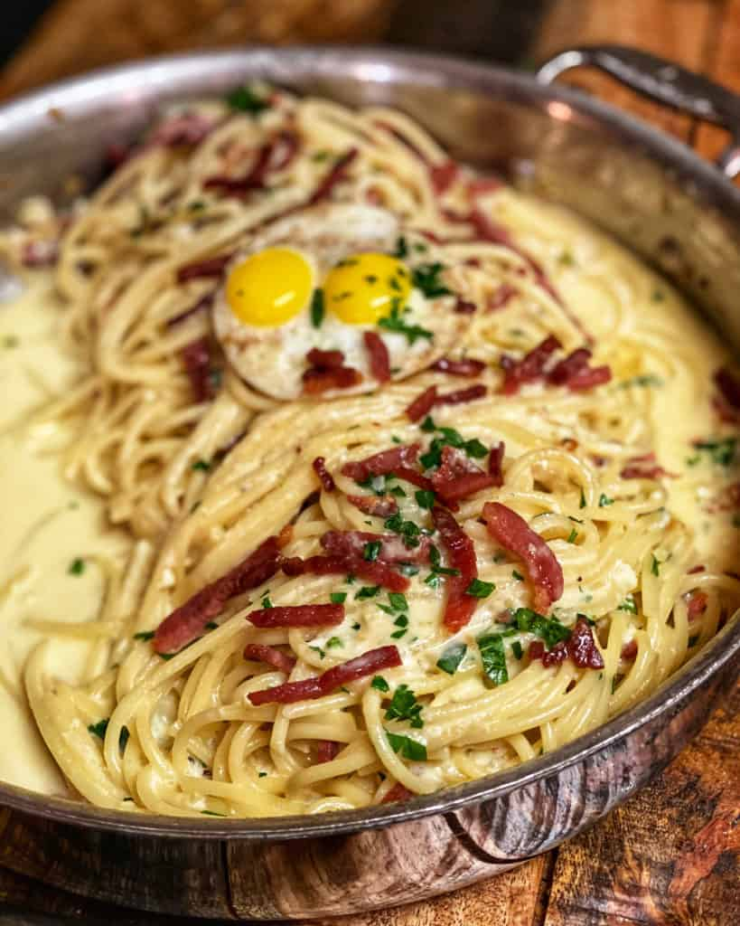 A pan of Pasta Carbonara with Country Ham