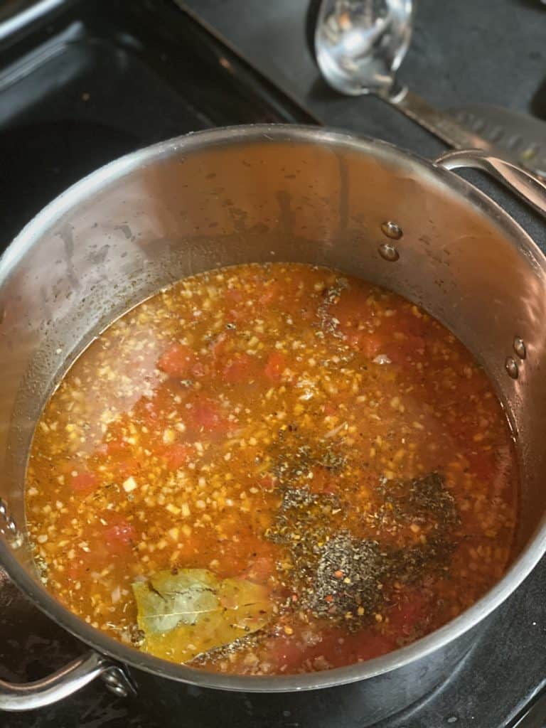 lasagna soup simmering in a pot