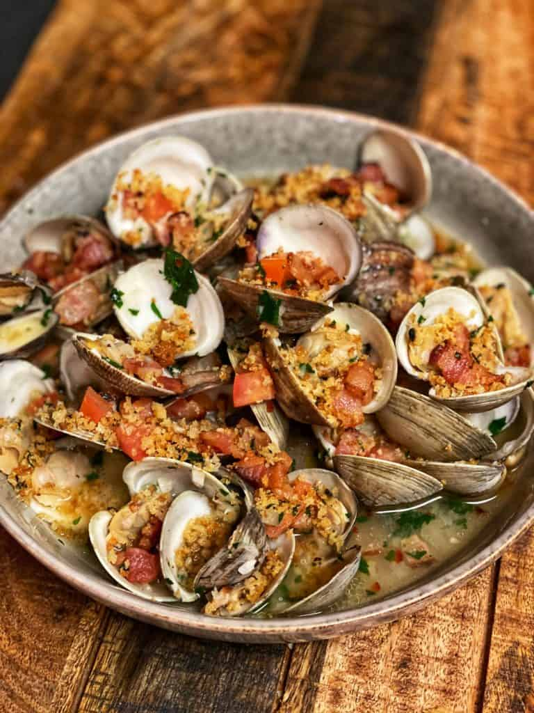 a bowl of clams casino deconstructed