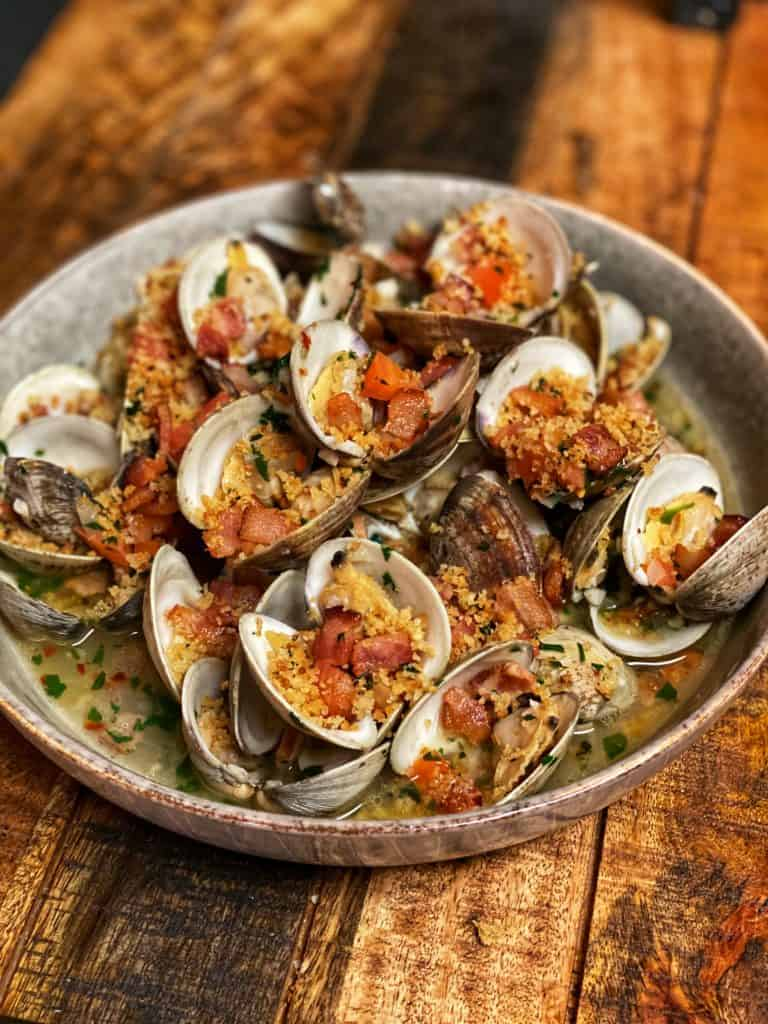 a bowl of deconstructed clams casino