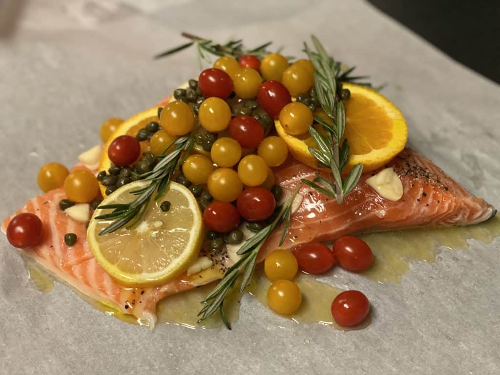 salmon with rosemary and tomatoes for my steamed salmon in parchment recipe