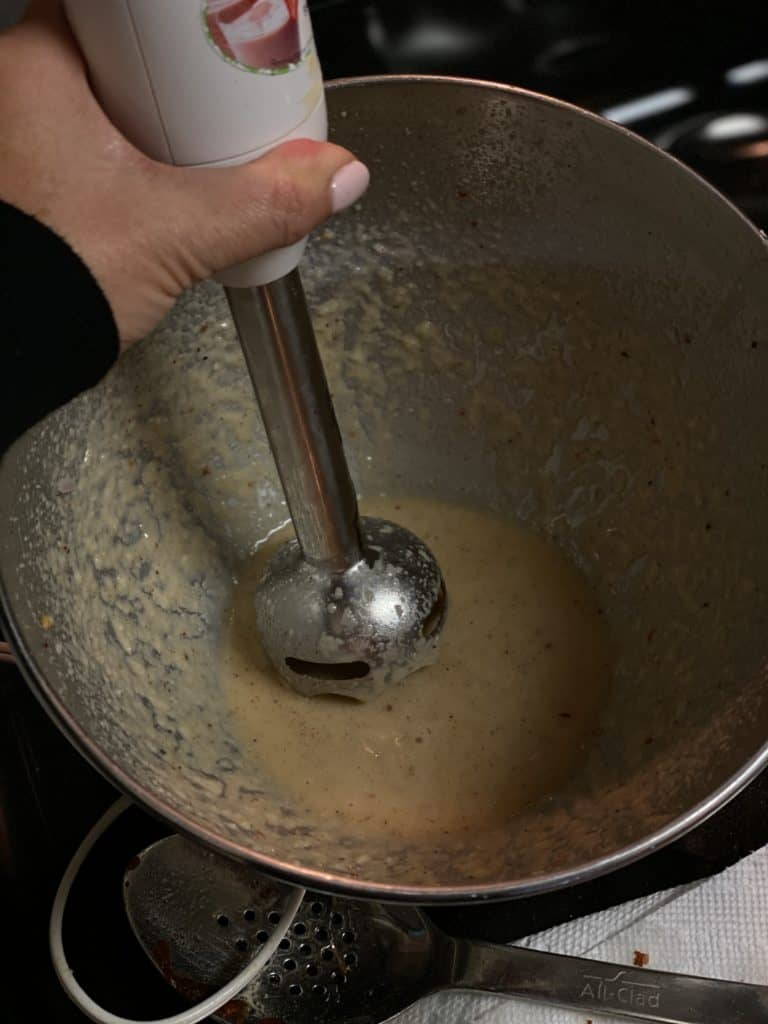 immersion blender in maple apple foam for my clams with crispy country ham
