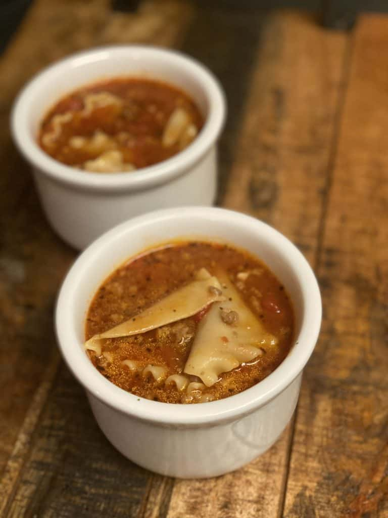 two bowls of lasagna soup