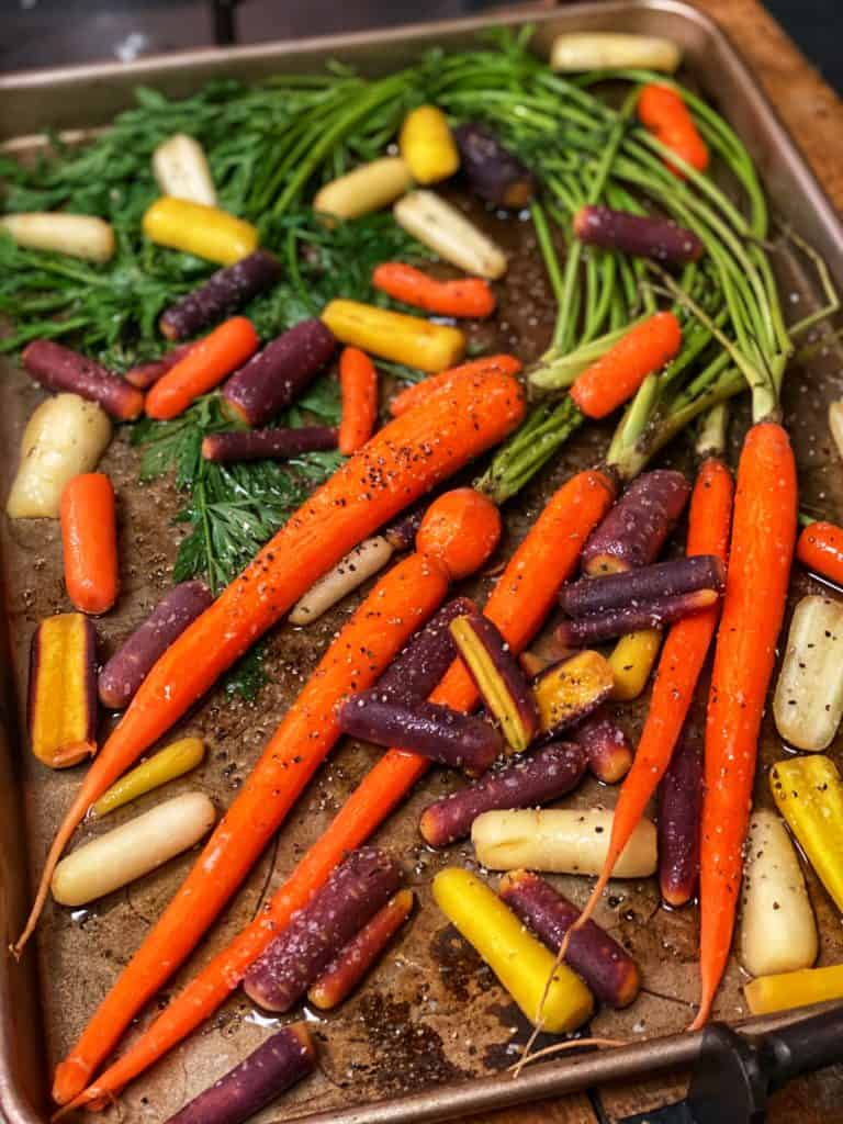a pan of carrots