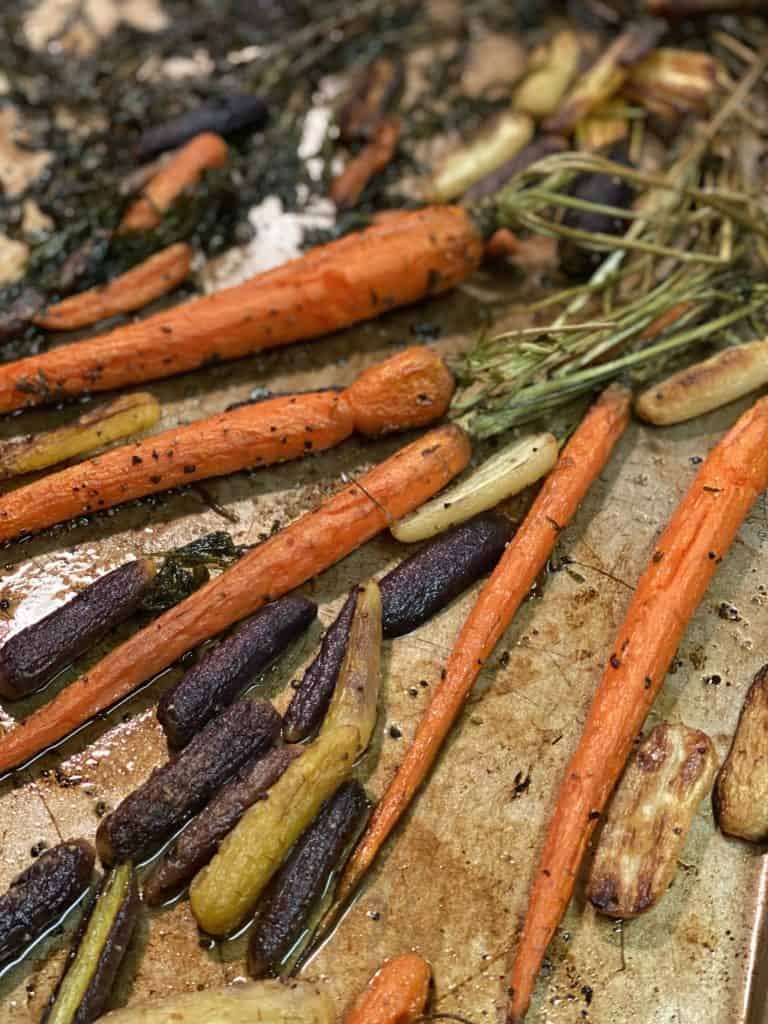 a pan of roasted carrots