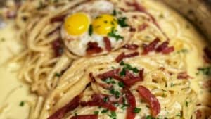 A pan of Pasta Carbonara with Country Ham
