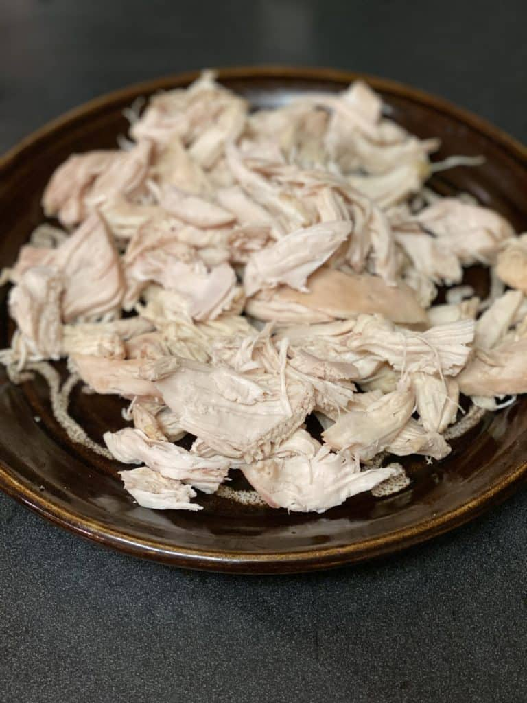 a plate of pulled chicken