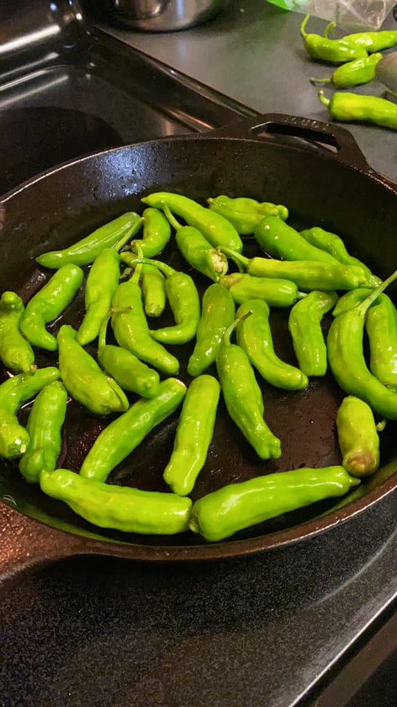 Shishito peppers in cast iron pan