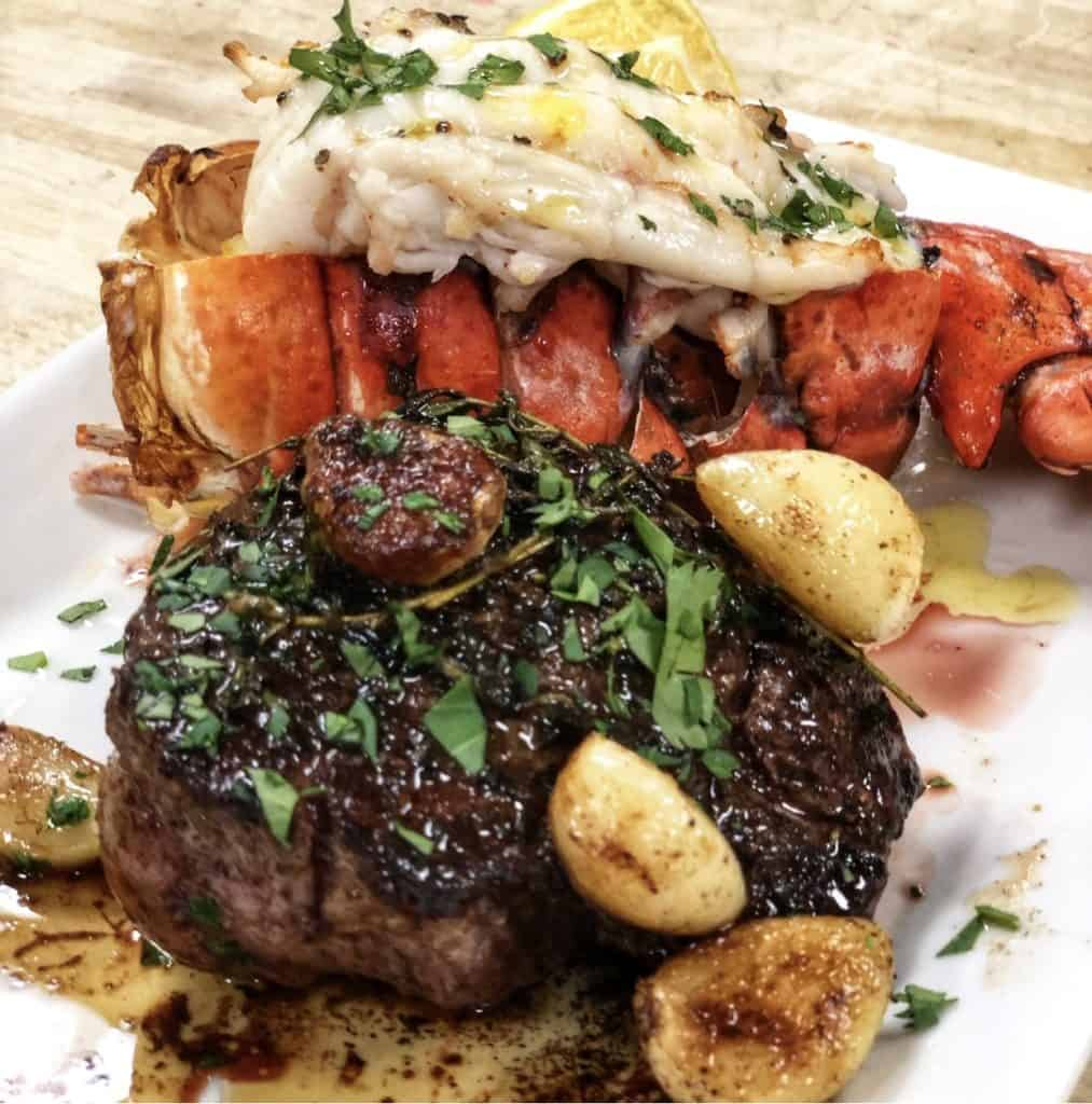 a steak and lobster tail