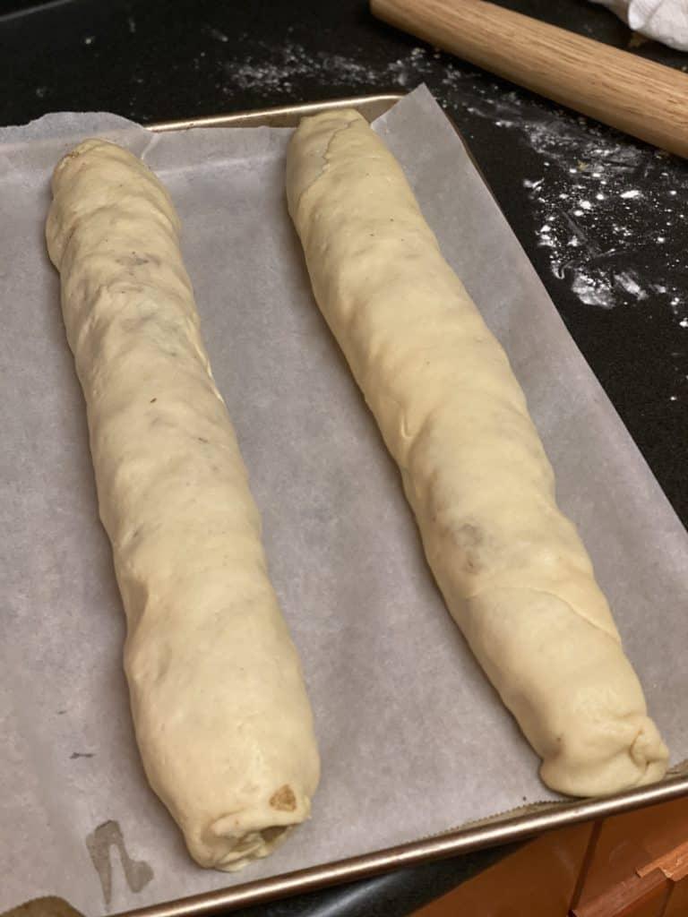 two nut rolls in a pan