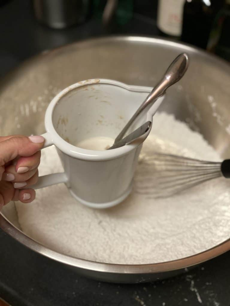 a cup of yeast and milk