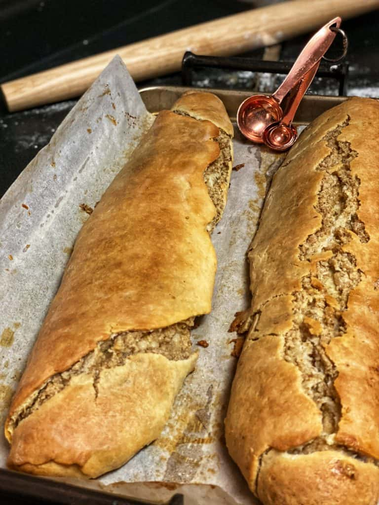 two nut rolls in a pan for Christmas Dinner