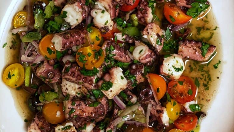 a bowl of Grilled Octopus Salad