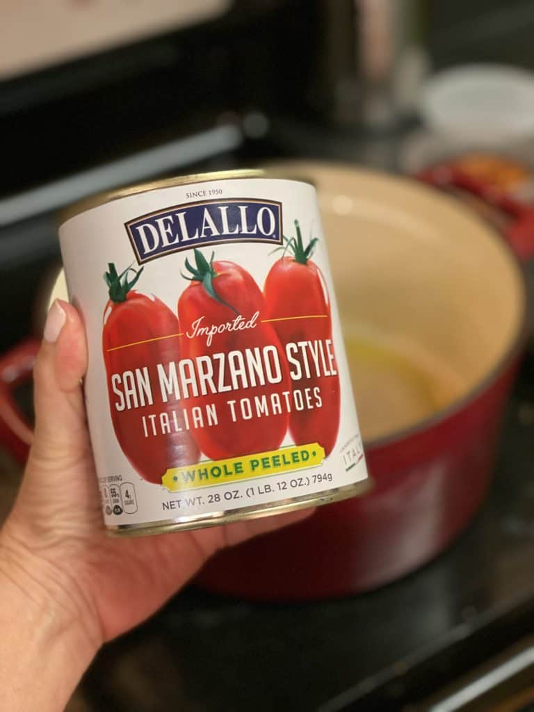 a can of Delallo San Marzano tomatoes